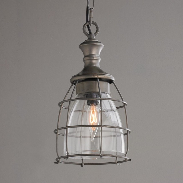 Metal Cage And Open Glass Pendant