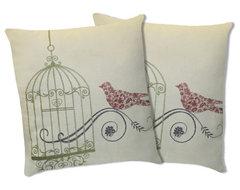 Dream Bird Green Decorative Pillows (Pair) contemporary-bed-pillows