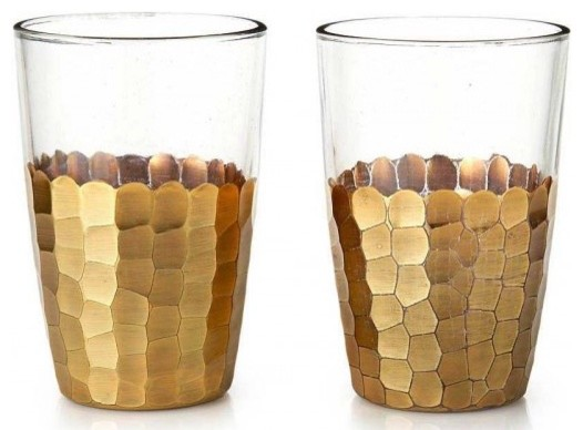 Set of 2 Gold Glasses contemporary glassware