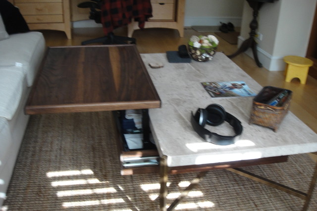 Travertine Coffee Table with Under-mount Storage & Built in Pop Up Table (Walnut