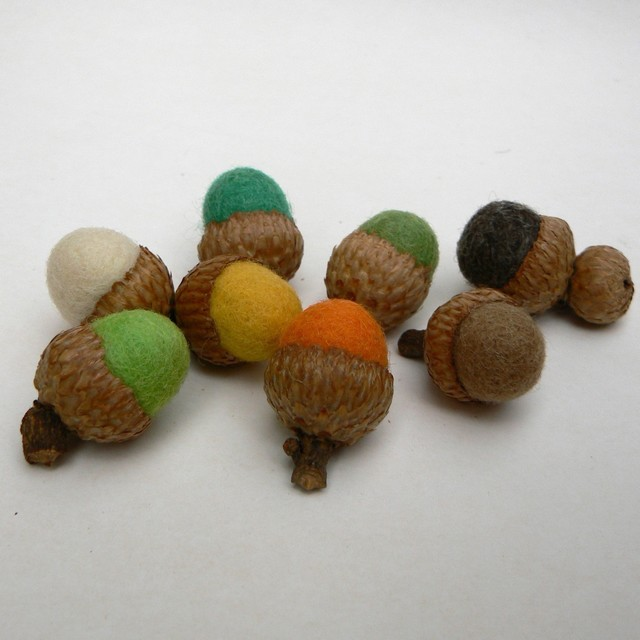 Autumn Felt Acorns by Fairyfolk modern-holiday-decorations