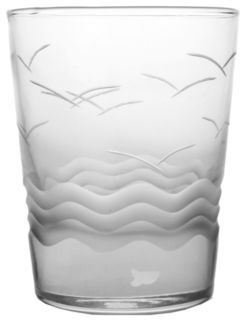 Seabreeze Double Old-Fashioned Glasses, Set of 4 beach-style-everyday-glassware