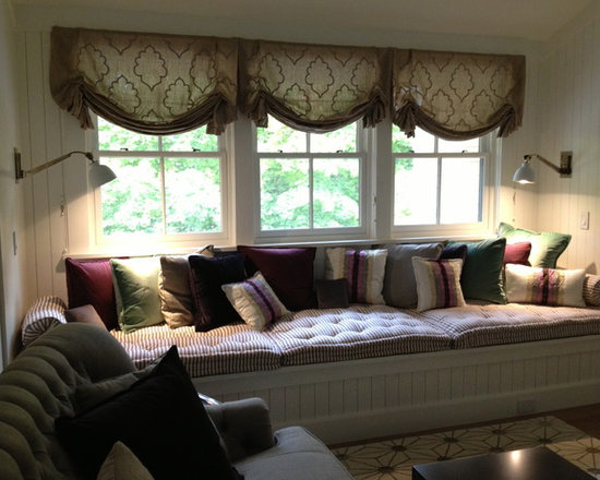 """Weston Contemporary - Beautiful contemporary/traditional home, window seat.  Cushions are hand-tufted. Pillow details include self-welt and 1/2"""" flange, and bolsters have gathered ends with welting and self-covered buttons.  Relaxed Romans are embroidered linen."""