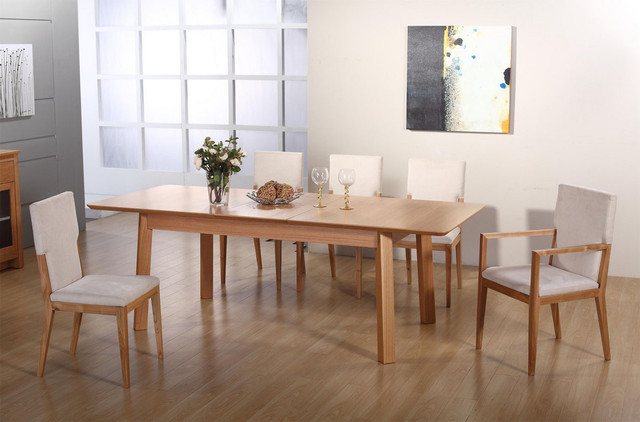 Extendable rectangular wooden and microfiber seats for Modern wood dining room table