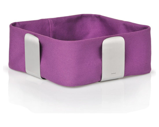 Blomus - Desa Bread Basket - Small, Purple - The Desa Bread Basket from Blomus is available in your choice of 4 colors and 2 sizes. Made with brushed stainless steel and cotton fabric.