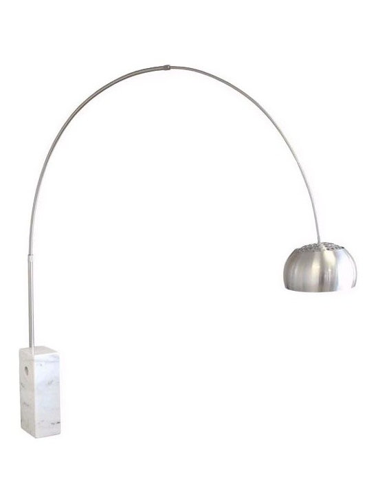 IMPORT LIGHTING & FUNITURE - Arco Marble Floor Lamp, White, Round Tube - Our reproduction of the classic design Arco floor lamp is a great choice for your home at a fraction of the price of the originals. This lamp is perfect for many rooms at many occasions. Unique contemporary design coupled with quality craftsmanship makes this classic the right choice for the modern home. The marble Arco floor lamp provides a freestanding overhead light perfect for reading or lounging on the sofa. The lamp arc is adjustable, and the marble base features a hole to assist in movement; shade placement is also adjustable. The lamp comes pre-assembled and very easy to put together.