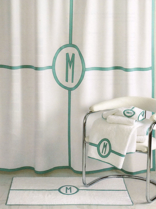 """Matouk - Parterre Monogrammed Shower Curtain - WHITE/AQUA (SHOWER CURTAIN) - MatoukParterre Monogrammed Shower CurtainDetailsMade of white cotton/polyester diamond pique.Sateen applique detail and single initial in your choice of colors.Monogram in style shown.Machine wash.72""""Sq.Liner not included.Imported.You will be able to specify personalization details after adding item(s) to your shopping cart. Please order carefully. Orders for personalized items cannot be canceled and personalized items cannot be returned.Designer About Matouk:The son of a jeweler John Matouk understood the principles of fine workmanship and quality materials. After studying fine fabrics in Italy he founded Matouk in 1929 as a source for fine bed and bath linens. Today the third generation of the Matouk family guides the company whose headquarters were relocated to the United States from Europe during World War II. Matouk linens are prized worldwide for their uncompromising quality and hand-finished detailing by skilled craftsmen."""