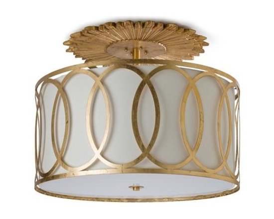 Large Classic Sunburst Medallion Semi Flush Light, Gold -