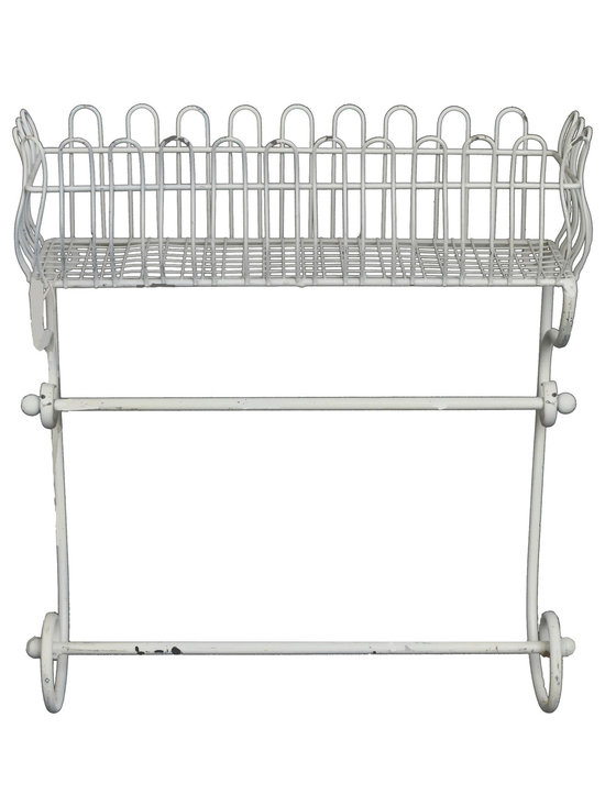 Enchante Accessories Inc - Distressed Metal Wall Shelf / Flower Box / Planter / Patio Container (Ivory) - Wrought iron flower planter and flower box with ornate scrollwork Distressed detailing for an antique, vintage lookVersatile enough for indoor and outdoor useProvides a beautiful place to display fresh flowers or potted plants Measures 14.75 in. x 4.5 in. x 15.75 in.Versatile enough for indoor or outdoor use, this wire metal planter provides an elegant place to hold flower pots and plants.  The Distressed Metal Flower Box / Planter / Patio Container is crafted from durable wrought iron and features a European inspired design with ornate French scrollwork across the top and a curved metal grid that mimics the construction and shape of old fashioned garden trellises.  Slender metal iron grids serve as the backdrop against the sturdy iron frame while the scrolled top adds a decorative touch and enhances the look of any room, garden, or patio.  A slim, rectangular flower box along the bottom offers the versatility to use this planter as a flower box outside a window or a patio container on your front porch or stairs.  With distressed edges that give it an elegant antique look, this metal flower box can be filled directly with dirt and flowers, used to grow a small fresh herb garden right outside your kitchen window, hold small potted plants, or show off fresh flowers that youメve proudly grown in your own garden.  Fill the planter high on a garden wall and let vines and flowers cascade over the edges to create an overflowing floral effect.  The neutral black finish is the perfect background on which to display any choice or fresh greenery or colorful blossoms.   This flower box can also be used indoors and can be incorporated easily into a kitchen or bathroom design.  In the kitchen, this planter can be used to hold recipe boxes or small containers, mason jars filled with tea, canisters filled with fresh coffee beans, or decorative bottles and jars of your favorite s