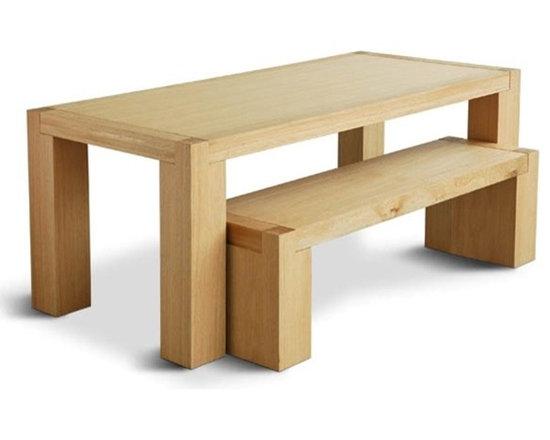GUS* MODERN CHUNK DINING TABLE & BENCH -