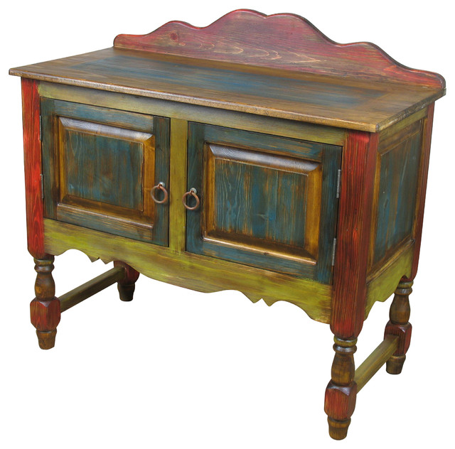 painted wood sideboard with turned legs side tables and