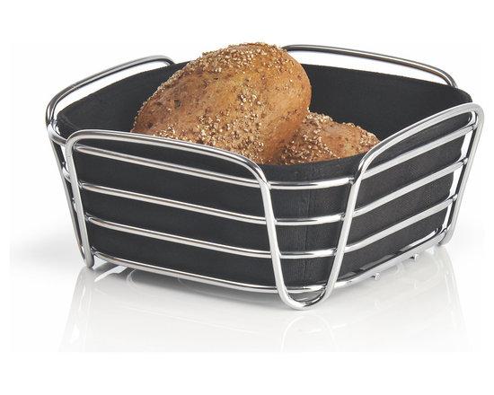 Blomus - Delara Bread Basket, Black, Small - The Blomus Delara Bread Basket is made with chrome-plated steel and cotton fabric insert.