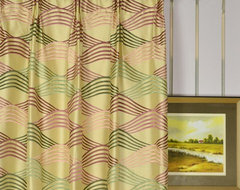 Red and Green Embroidered Ripple-shaped Versatile Pleat Dupioni Silk Curtains modern