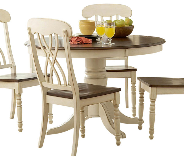 Round Pedestal Dining Table in White and Cherry - Traditional - Dining ...
