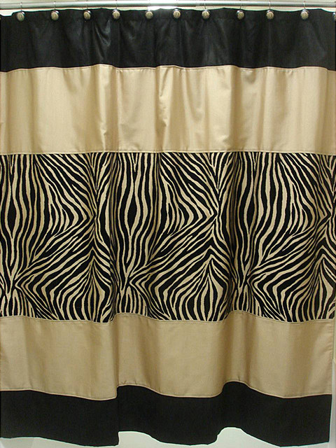 Zuma Zebra Shower Curtain And Hook Set Contemporary Shower Curtains By