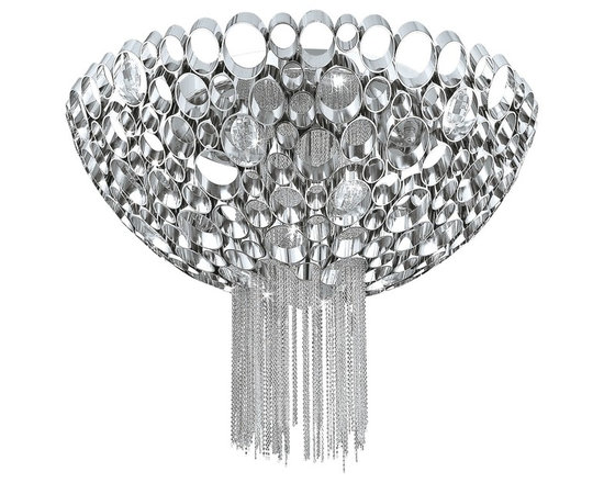 "Eurofase - Cameo Collection 17 3/4"" Wide Polished Nickel Ceiling Light - Contemporary and magnificent this three-light bathroom lighting fixture is a bold statement for your home. Finished in polished nickel with honey comb rings that add eye-catching dimension. Draped metallic mesh chains create a sense of glamour reminiscent of the decadent 1920s. From the Cameo Collection by Eurofase Lighting.  Cameo contemporary ceiling light.  Polished nickel finish.  Metallic mesh draped chain.  Flushmount design.  Nickel plated honey comb rings.  Includes three 60 watt G9 bulbs.  17 3/4"" wide.  7"" high."