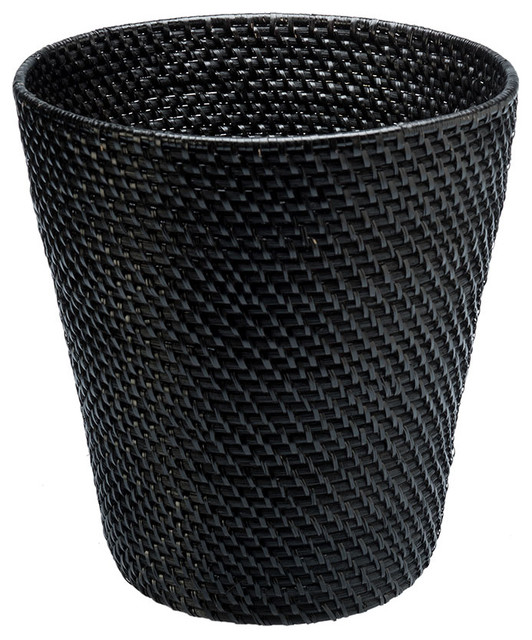 Round rattan wastebasket black modern wastebaskets other metro by kouboo - Wicker trash basket ...
