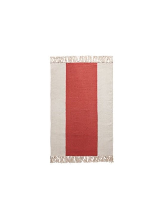 Serena & Lily - Coral Broad Stripe Dhurrie - Equally at home in the bath, kitchen or entryway, this rug has an easy, welcoming style. The smooth, flat weave so inviting on bare feet brings a fresh design element to the room. A hand-knotted fringe adds a textural twist.