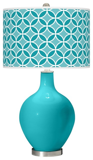 Contemporary Surfer Blue Circle Rings Ovo Table Lamp contemporary-table-lamps