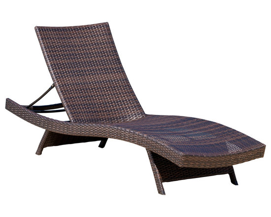 Great Deal Furniture - Lakeport Outdoor Adjustable Chaise Lounge Chair - We guarantee that you have never seen a more beautiful chaise lounge chair than the Lakeport Outdoor Adjustable Chaise Lounge Chair. This chaise lounge chair is weather-resistant and has an adjustable angle back and folding legs for easy stacking. Its natural colors combined with its exotic styling, create a one-of-a-kind design that is perfectly suited for poolside use. The smooth, soft wicker is weather resistant and is carefully and meticulously crafted and shaped to form gorgeous curves that not only look great, but also seemingly wraps to your body, creating a luxurious feel of peace and quiet. The chair is ideal for sunbathing. Includes one (1) lounge chair