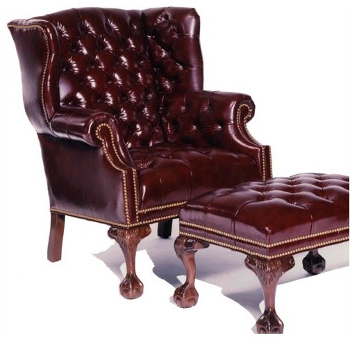 Tufted Ball in Claw Leather Wing Chair modern-armchairs-and-accent-chairs