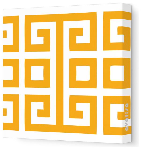 "Pattern - Big Square Stretched Wall Art, 18"" x 18"", Orange contemporary-artwork"
