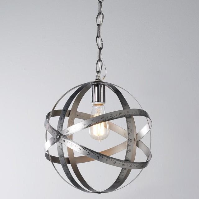 Silver Ruler Globe Pendant Light - Pendant Lighting - by Shades of Light