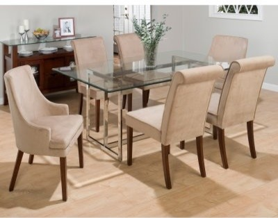 Bethel 7 pc. Rectangle Glass Top Dining Table Set - 4 Side Chairs - 2 Arm Chairs modern-dining-tables