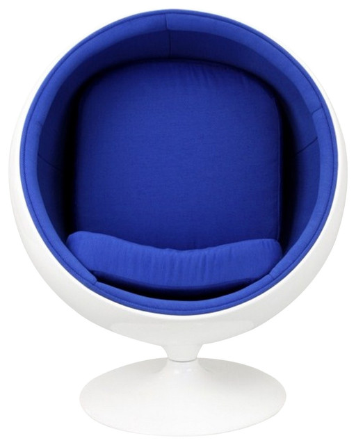 Ball Style Chair Glossy white with Blue Fabric modern-upholstery-fabric