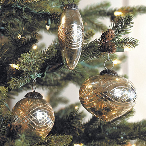 Etched Mercury Glass Ornament - Set of 3 traditional-holiday-decorations