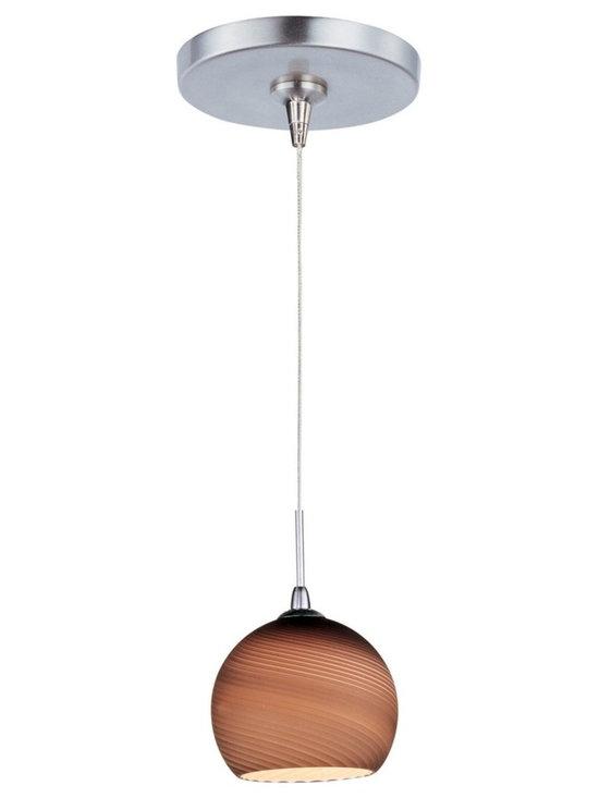"ET2 - ET2 Minx RapidJack Chocolate Mousse Glass Mini Pendant - Stunning modern 1-light mini pendant. Striated chocolate mousse glass shade. Satin nickel finish metal round canopy and details. Includes one 50 watt 12 volt GY6.35 T4 Xenon bulb. Light output is 750 lumens. 2900K color temperature warm light. 2000 hour rated average bulb life. Low-voltage design; transformer included. Includes 72"" wire. Shade is 4 3/4"" wide and 4 1/4"" high. Canopy is 4 1/2"" wide and 1"" high. Maximum overall hang height is 77 1/2"".   Stunning modern 1-light mini pendant.  Striated chocolate mousse glass shade.  Satin nickel finish metal round canopy and details.  Includes one 50 watt 12 volt GY6.35 T4 Xenon bulb.  Light output is 750 lumens.  2900K color temperature warm light.  2000 hour rated average bulb life.  Low-voltage design; transformer included.  Includes 72"" wire.  Shade is 4 3/4"" wide and 4 1/4"" high.  Canopy is 4 1/2"" wide and 1"" high.  Maximum overall hang height is 77 1/2""."
