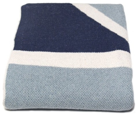 In2Green Union Jack Flag Cotton Throw, Blue Pond contemporary-throws