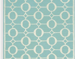Spello Arabesque Aqua Indoor/Outdoor Rug contemporary-rugs