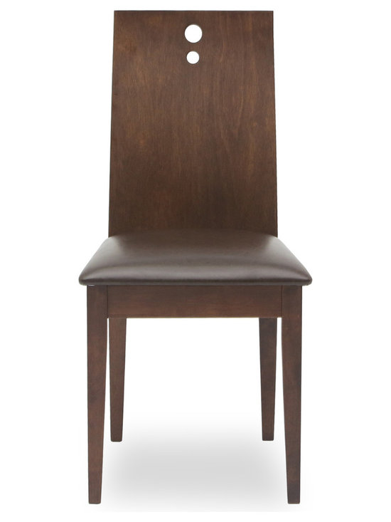 Bryght - Bella Faux Leather Cocoa Dining Chair - The Bella dining chair offers sophistication with a modern twist through its contemporary design. The one piece, two-dimensional curved backrest accentuated by three solid stainless steel bolts and a firm padded seating offers sturdiness with dependable comfort.