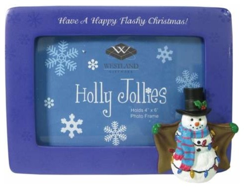 4 x 6 Inch Happy Flashy Christmas Flashing Snowman Picture Frame eclectic-frames
