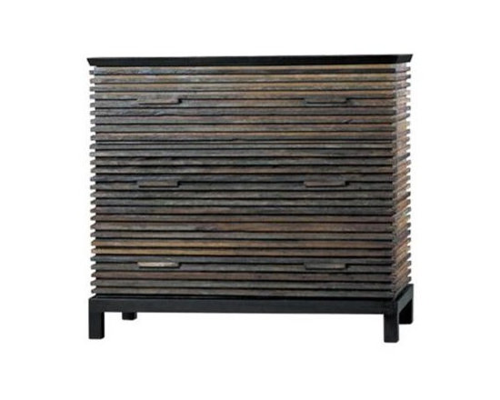 Eco Friendly Furnture and Lighting - The clean-lined, organic aesthetic of the Lotus Collection conveys an East meets West sensibility. The Lotus 3 Drawer Dresser is a textured beauty featuring thin slats of Peroba wood reclaimed from 100-year old barns and homes in Brazil. An eclectic palette of warm amber, caramel, gray and brown tones -- thanks to the natural patina will continue to develop with time.