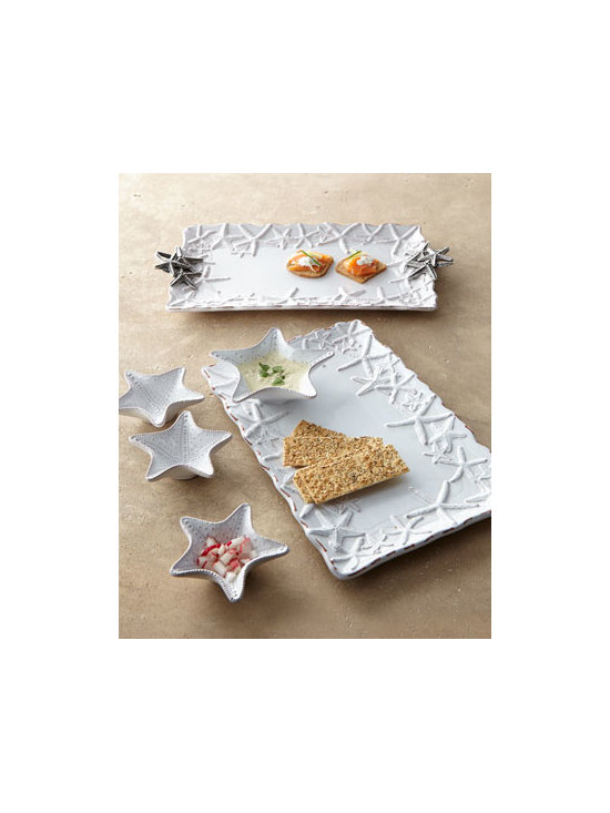 "Horchow - Starfish Rectangular Platter - Bring a little coastal charm to the table with starfish embellished serveware. Embossing adds texture to the design. Made of terra cotta; platter has metal handles. ""Milk"" glaze finish. Hand wash. Set of three mini dip cups; each, 4.5"" x 3"". Chip &...."