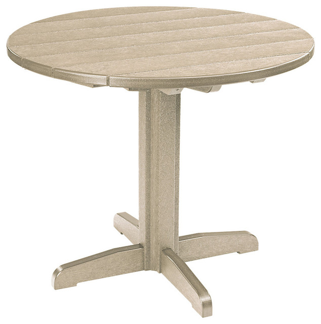 37 Round Dining Pedestal Table Beige Contemporary Outdoor Dining Tables