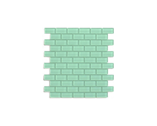 "Sage 1"" x 2"" Mini Glass Subway Tile - The Sage Green Mini Subway Tile is made from the strongest stain-resistant crystal clear glass. These tiles have a 8mm thickness that increases their durability and the depth of their color making them truly beautiful subway tiles. These subway tiles can be used for commercial or residential construction in either a wet or dry environment."