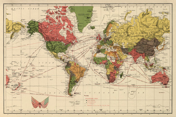 Vintage world map print by ancient shades traditional for Kitchen cabinets lowes with antique world map wall art