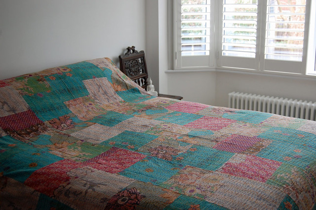 Kantha Quilt - Turquoise/Multi rustic-bedding