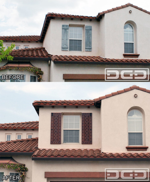 before after pic of a mediterranean style window shutter