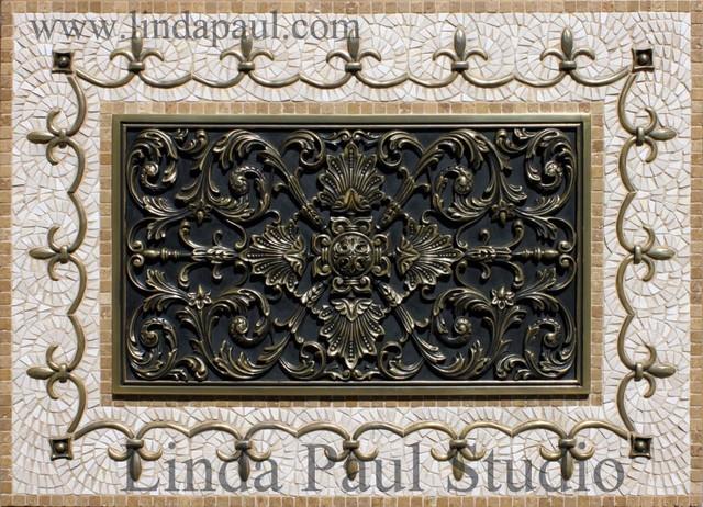 Ravenna Kitchen Backsplash Metal and Mosaic Tile Medallion - Linda ...