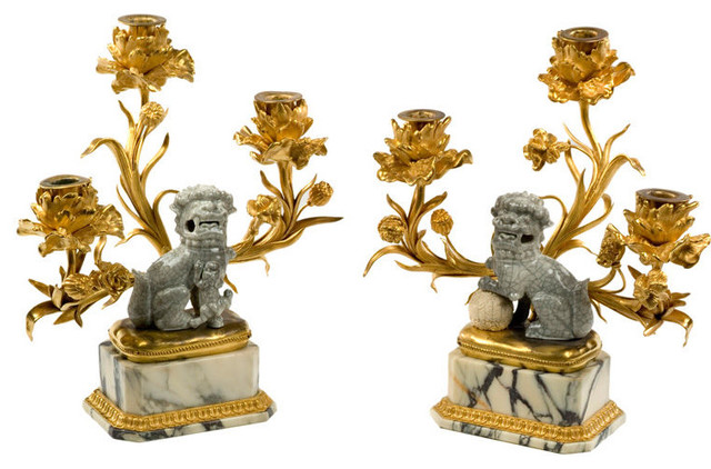 Antique French Foo Dog Candelabra asian-candleholders