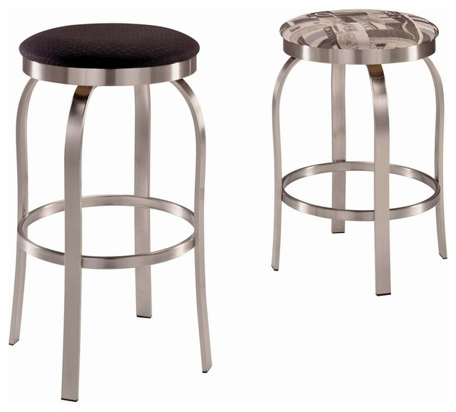 Trica Napa Swivel Backless Bar Stool Brushed Steel