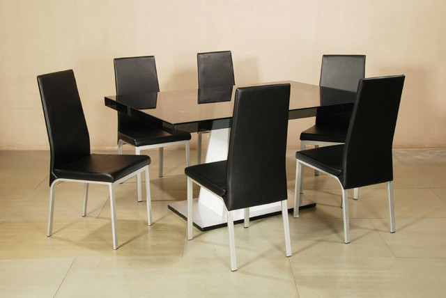 Elite Rectangular Wooden And Glass Top Leather Modern Table With Chairs Modern Dining Tables
