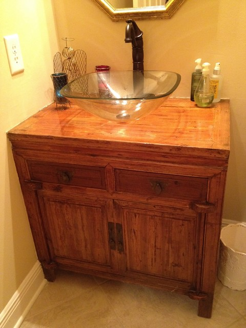 Antique cabinet makes perfect bathroom vanity eclectic bathroom vanities and sink consoles