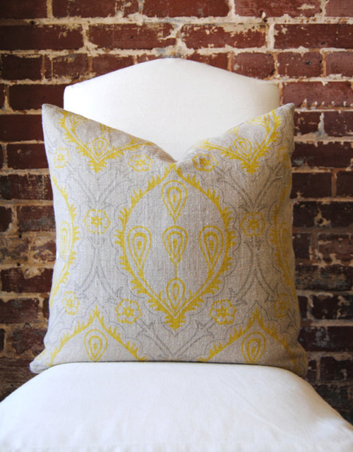 Modern Print Pillows : Yellow and Grey Hand Print - Modern - Decorative Pillows - by Martha & Ash