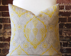 Yellow and Grey Hand Print modern pillows