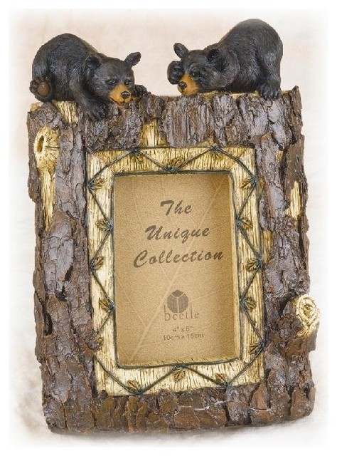 "11 Inch Tree Trunk Design with 2 Black Bears 4 x 6"" Photo Frame farmhouse-frames"
